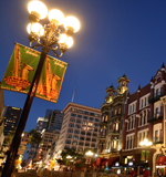 image of a street in san diego's gas lamp quarter at night