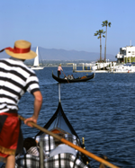 image of gondaliers in san diego harbor